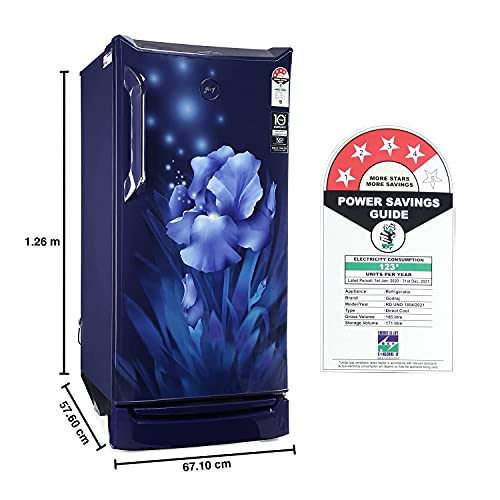 Godrej 185 L 4 Star Inverter Direct-Cool Single Door Refrigerator (RD UNO 1854 PTI AQ BL, Aqua Blue) 2