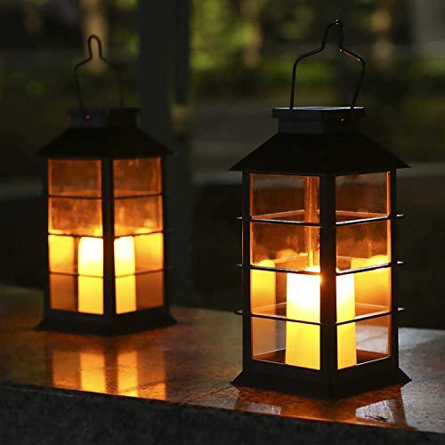 Lot de 2 Lanterne Solaire Exterieur Lampe Solaire de Jardin IP44 Imperméable Vintage Lumière en Plastique Accrochant Éclairage Décorative LED LumièRes de Bougie pour Garden Patio Couloir FêTe (Noir)