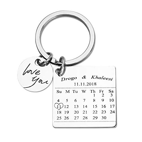 Personalized Special Date Calendar Keychain - Customized Stainless Steel Key Chain with Date and Name Carving, Creative Gifts for Lover (Silver-1)