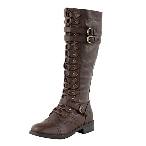 Wild Diva Women's Fashion Timberly-65 Military Knee High Combat Boots Shoes Brown Wet Pu 6