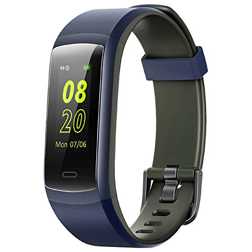 Fitness Tracker,YAMAY Fitness Watch Heart Rate Monitor Activity Tracker,Color Screen Dual-Color Bands IP68 Waterproof,with Step Counter Sleep Monitor 14 Sports Tracking for Women Men (Blue-Gray)