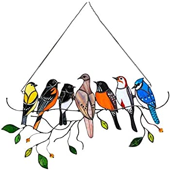 CesCoo Multicolor On-A-Wire High Stained Glass Hanging Birds