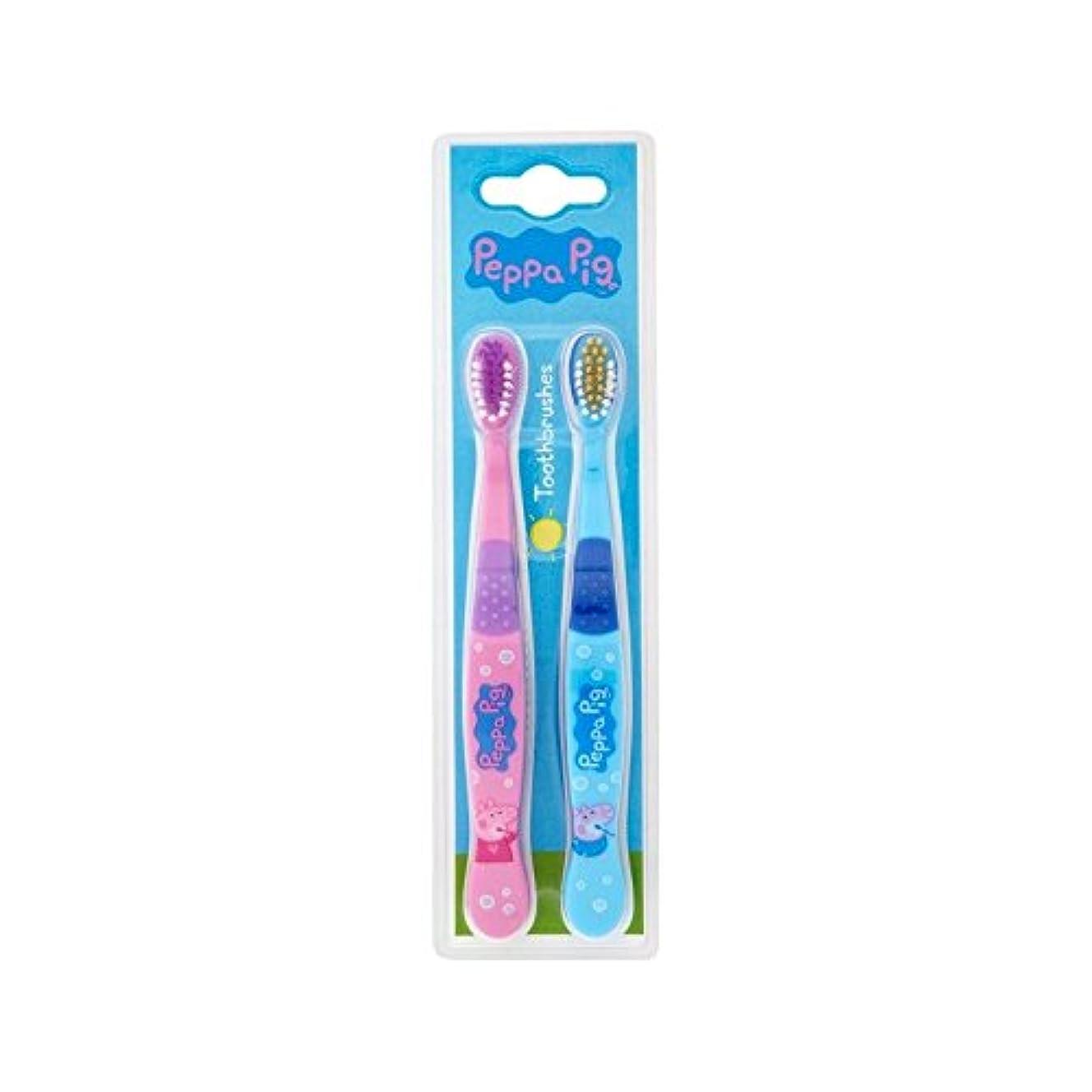 前部グレード自信がある1パックツイン歯ブラシ2 (Peppa Pig) (x 2) - Peppa Pig Twin Toothbrush 2 per pack (Pack of 2) [並行輸入品]