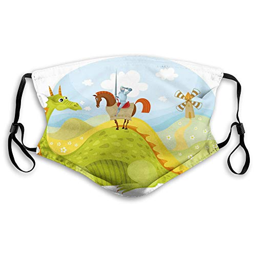 ComfortableWindproofmask,Fantasy, Knight Don Quixote with Horse on Dragon Valley Medieval Fairytale Image,Fruits Green Sky Blue,PrintedFacialdecorationsforUnisexteenskids