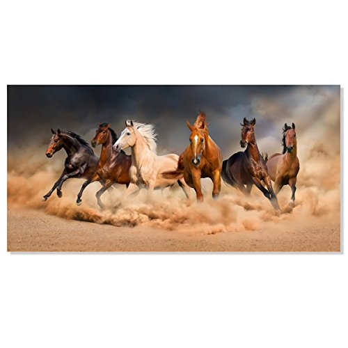 Inzlove Large Size Gallery Wrapped Running Horse Modern African Landscape Wild Animal Canvas Art Print Painting Wall Picture for Living Room Decor (Framed 30x60 inch)