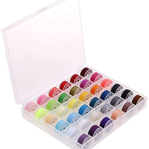 Wuhanyimang Hilos de bobina para máquina de coser de 36 colores con caja de almacenamiento, juego de bobinas preheridas para máquina de coser. Colores surtidos