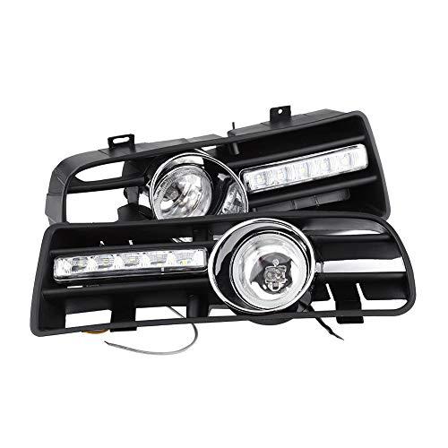 Qii lu 2Pcs H3 Rejillas de luces antiniebla con lámpara LED DRL para 1997-2006 Golf GTi/TDI MK4