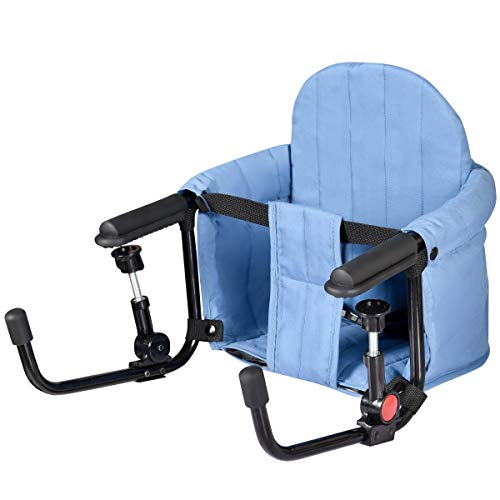 BABY JOY Hook On Chair, Fold-Flat Storage & Tight Fixing Clip on Table High Chair for Home Restaurant Travel, Portable Feeding Seat of Iron Pipe Frame, High Load Design, Baby Fast Table Chair (Blue)