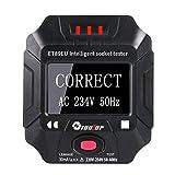 Probador de enchufe,Detector de voltaje de zócalo,comprobador de enchufes con pantalla digital portátil inteligente,Comprobador de cableado de frecuencia Prueba RCD