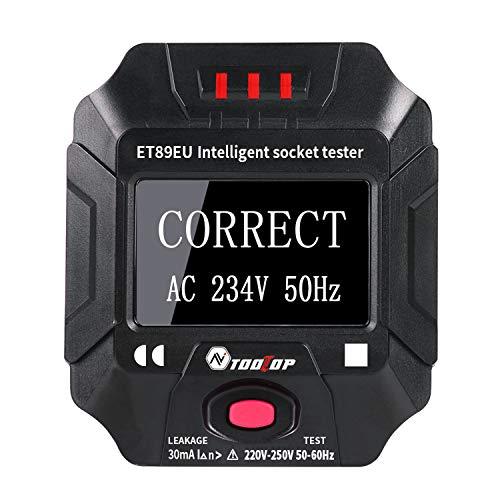 KKmoon Socket Detektor Intelligente tragbare Digitalanzeige Steckdosentester Spannung Frequenz Verkabelungstester RCD-Tester mit großem LCD-Bildschirm und LED Leuchte