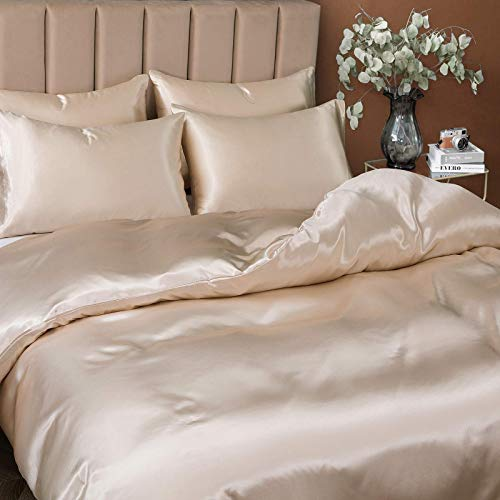 Pothuiny 5 Pieces Satin Duvet Cover Full/Queen Size Set, Luxury Silk Like Taupe Duvet Cover Bedding Set with Zipper Closure, 1 Duvet Cover + 4 Pillow Cases