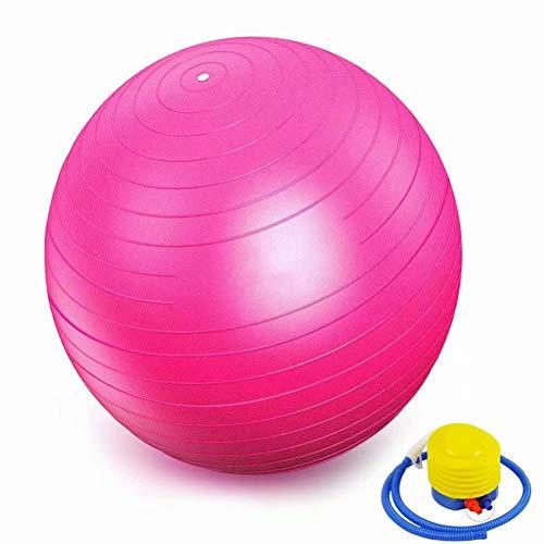 YANGJUNXI Yoga-Ball RüCkentraining Und Coordination Pilates Ball MassagebLle Gymnastikball Schwangerschaft Sport üBungsanleitung Yoga üBungsbal,Rosa-80cm
