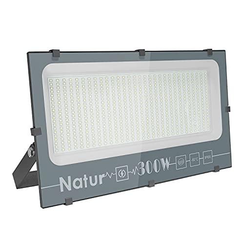 300W Focos LED Exterior, Luz Exterior Potente Luces 30000LM Foco Proyector LED, IP66 Impermeable lluminación de Seguridad 6000K Blanco Frío Aplique Exteriores Lampara para Jardín Garaje Patio Fábrica