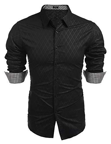 COOFANDY Men's Business Dress Shirt Long Sleeve Slim Fit Casual Button Down Shirt (XXL, Black)