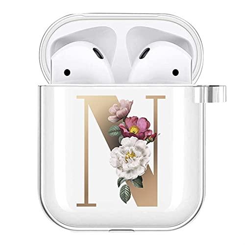 Bolsa de cobertura de carga para Airopds 1er / 2ª generación Carta personalizada Cajas transparentes Bluetooth Caja Auricular Casas de protección de joyería de protección de aire POD Cubierta