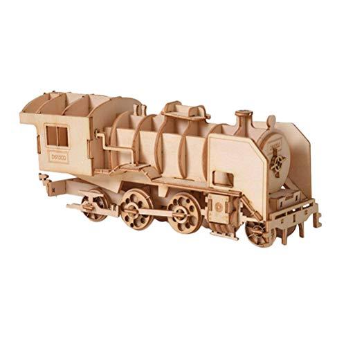 YeahiBaby 3pcs Holzpuzzle 3D Zug Eisenbahn Puzzle DIY Modellbausätze Holz-Geschenk für Kinder und Erwachsene