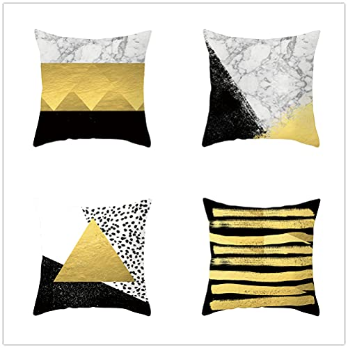 Niuqichongtian Negro y blanco Funda de almohada patrón oro caliente negro mullido fundas de cojín coche sofá jardín decoración regalo TPR058-10TPR058-10