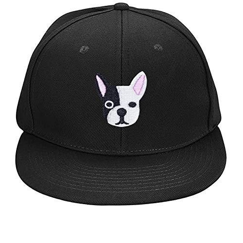 New Black Flat Brim Ball Cap French Bulldog Embroidered Dad Hat with Design Baseball Cap Men Women Adjustable Snapback