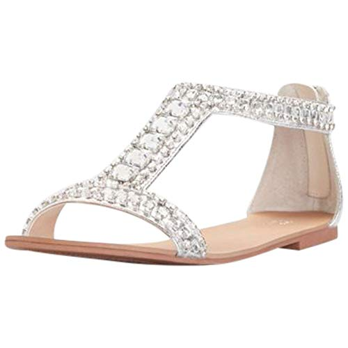 David's Bridal Crystal and Jewel Embellished Flat Sandals Style Posey, Silver, 8