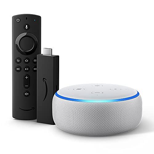 Echo Dot (3ª generazione) - Tessuto grigio chiaro con Fire TV Stick 4K