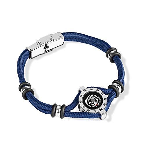 Jubuk Herren Armbänder Nylon Seil Armband Titan Stahl Multifunktions Outdoor Survival Armband Kompass Camping Abenteuer Bergsteigen Seil, Blau, 20CM