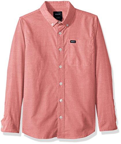 RVCA Jungen Thatll DO Stretch Long Sleeve Woven Shirt Button Down Hemd, Pompeji Rot, Klein