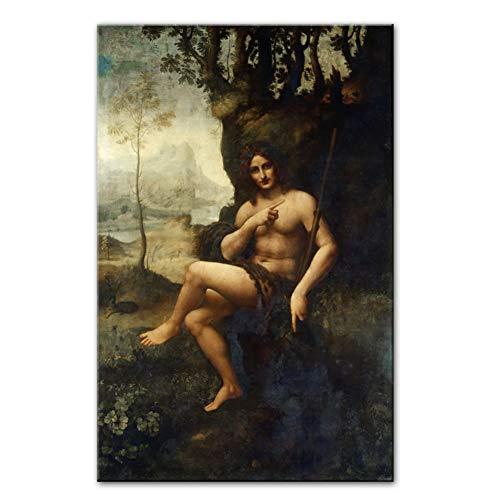 Bacchus Berühmte Leinwand Kunst Gemälde von Leonardo Da Vinci Klassische Kunst Leinwand Drucke Für Wohnzimmer -50x75cm Kein Rahmen