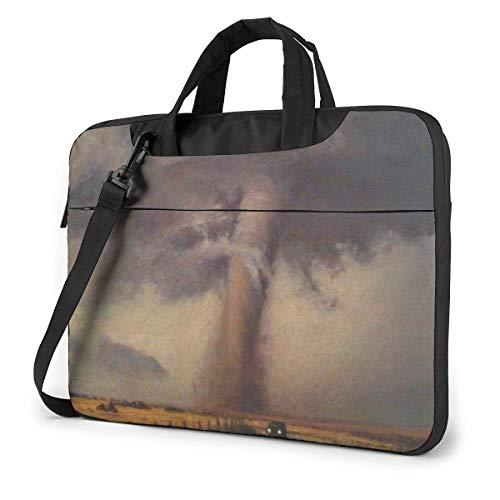 15.6″Lightweight Laptop Notebook Shoulder Backpack Bag Tornado Painting Waterproof PC Briefcase Messenger with Strap