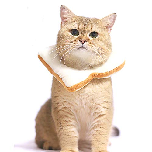 Adnikia Creative Soft Bread Slice Collar for Cat, Toast Bread-Shaped Cat Headdress, Pet Cat Cosplay Makeup Cap, Pet Cartoon Costume, Cat Dressing Up Props, Toast Shape Pet Headgear((S, Yellow)