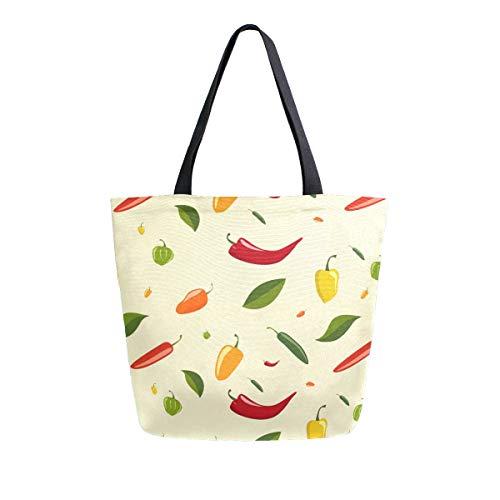 LUPINZ Chili Muster-Tote Bag Reisetasche Schultertasche für Einkaufen Frauen Handtasche