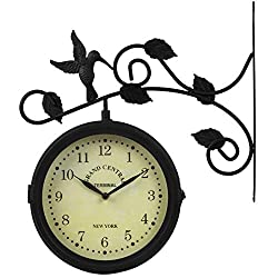 Lily's Home Vintage Inspired Outdoor Hanging Train Station Garden Dual Sided Clock Thermometer, Black Wrought Iron
