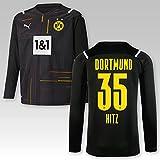 PUMA BVB Goalkeeper Trikot schwarz 2021/22, Größe:152, Spielername:35 Hitz