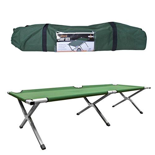 Milestone Camping 20260, Letto Pieghevole Unisex-Adult, Verde, H42 x W64 x L189cm