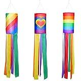 3 Stück Windsack bunt hängende Dekoration Regenbogen Herz Muster Säulen Windsack Wasserdicht...