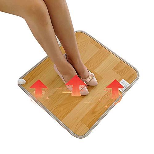 FUTNhot 30 * 50cm Warming Heater Feet Verwarmde mat, mobiel vloerverwarming mat voetsteun voor winterkantoor en thuis onder het bureau houten strepen elektrotapijt