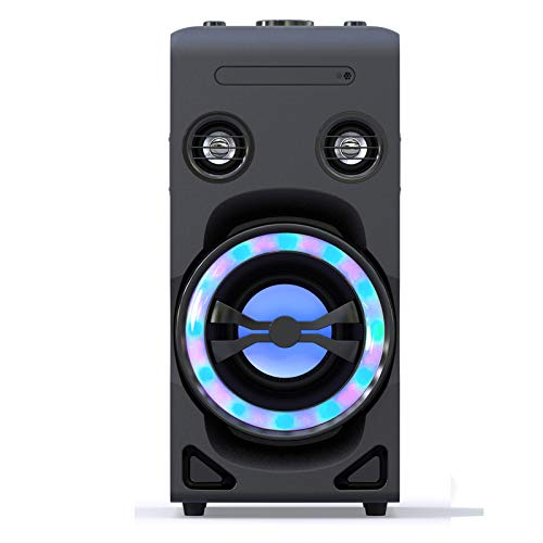 LONPOO Stereo System Bluetooth Party Speaker P10 with DSP and Enhanced Bass, LED Lightshow, CD/DVD Player HDMI, Karaoke MIC 2 Ports, FM Radio, USB /AUX Input, Remote Control