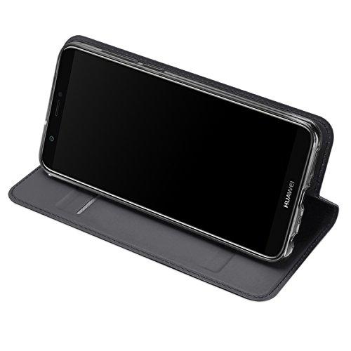 DUX DUCIS Funda Huawei P Smart, PU Cuero Flip Carcasa Fundas Móvil de Tapa Libro para Huawei P Smart (Gris)