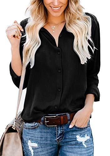 ZC&GF Women's Long Sleeve V-Neck Stripes Casual Blouses Pocket Button Down Shirt Tops