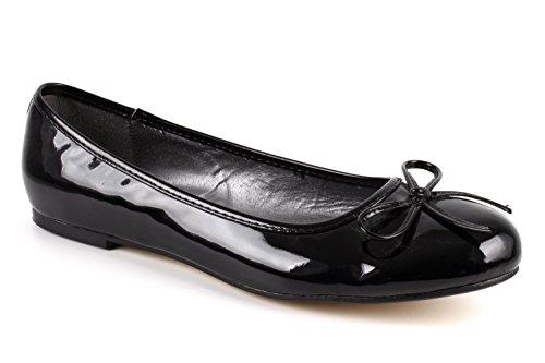 Flache Ballerinas für Damen und Junge Frauen mit flachem Blockabsatz und dekorativer Schleife - Loafer - TG104 – Große Auswahl an Farben und Ausführungen-Lack Schwarz-43 EU