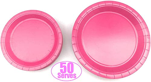 100 Count Pink Paper Plates | 50 ~ 9' Dinner Paper Plates | 50 ~ 7' Dessert Paper Plates Pink / Baby Shower Party Theme