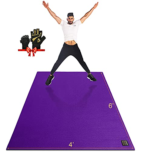 Gxmmat Large Exercise Mat 6'x4'x7mm, Thick Workout Mats for Home Gym Flooring, Extra Wide Non-Slip Durable Cardio Mat, High Density, Shoe Friendly, Perfect for Plyo, MMA, Jump Rope, Stretch, Fitness