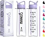 Mango Water Bottle With Straw - 900ml Motivational Time Markings - BPA Free Sports Bottles With Flip Nozzle And Leakproof Cap