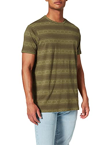 Springfield Camiseta Regular étnico, Estampado Verde, XL para Hombre