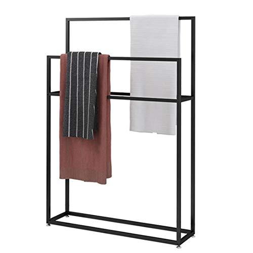 HNCS Toallero De Pie BañO Negro De Metal Soporte para Toallas con Dos Barras Moderno Portatoallas Colgador De Toallas para Secar Toallas De Ducha,65x20x110cm