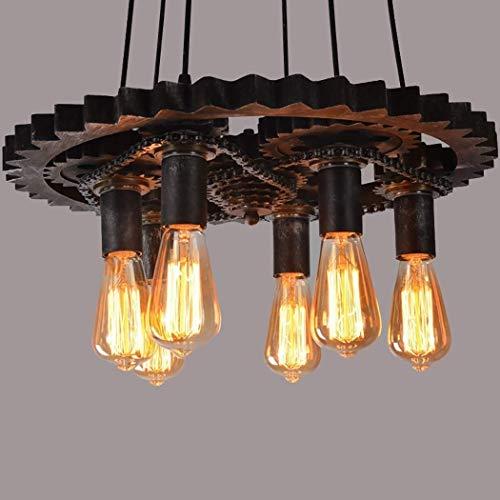 Chandelier Agriturismo Lampadari a 6 luci- Agriturismo lampadario retrò industriale legno industriale arte in ferro battuto lampadario in ferro battuto lampadario creativo antico retro ingranaggio sof