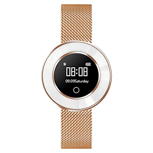 Fitness Tracker für Damen mit Herzfrequenz Blutdruck Sauerstoff Schrittzähler Smartwatch Armband Uhr Rose-Gold- 9705-18