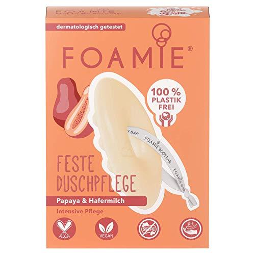 Foamie - Feste Duschpflege | 80g | Für eine intensive Pflege - speziell für eine sanfte, beruhigende Reinigung | Papaya und Hafermilch | 100% vegan - ohne Plastik - keine Tierversuche