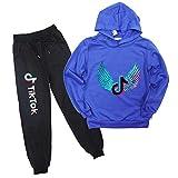 TOKYMOON TIK Tok Pullover Tiktok Trainingsanzug Set Jungen Mädchen Pullover Kinder Jogging Hoodies Sweatshirt Trainingsanzüge Kleidung Outwear Jumper Hip Hop Streetwear Hooded Tops Azul 130