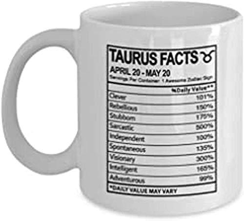 N\A Taza de información nutricional de Tauro - Regalo del Zodiaco para Hombres, Mujeres o Amigos - Regalos Divertidos de cumpleaños para Tauro - Taza de té de café de Regalo de cerámica Blanca