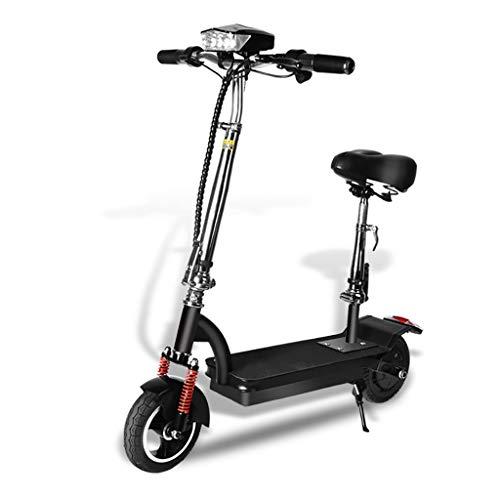 XIAOXIAO Bicicleta eléctrica, for Hombres y Mujeres, Ligero Plegable, Evitar el atasco, la batería Super Life, Delantera y Trasera de Doble absorción de Choque (Color : Black100km)